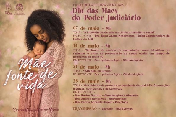 TJSE realiza Ciclo de Palestras virtuais em homenagem ao Dia das Mães